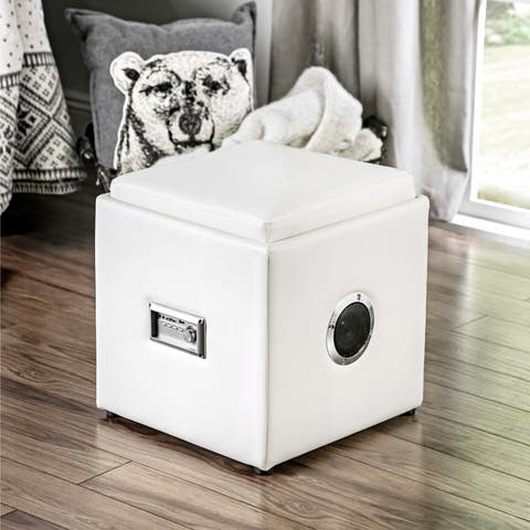 Furniture of America Jazz Wireless Bluetooth Speaker Leatherette Storage Ottoman