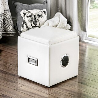 Furniture of America Jazz Wireless Bluetooth Speaker Leatherette Storage Ottoman