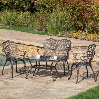 Zaria Outdoor 4-piece Cast Aluminum Chat Set by Christopher Knight Home