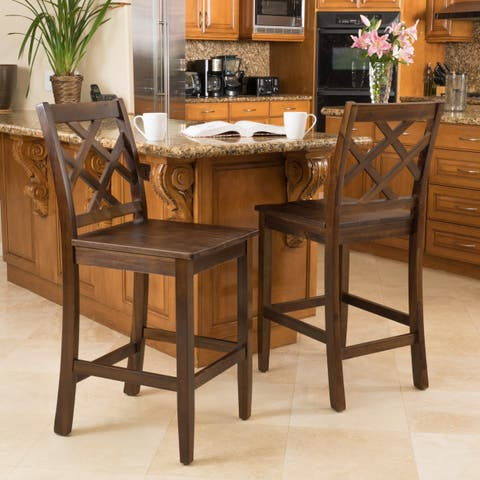 Naples Acacia 26-inch Wood Counter Stool (Set of 2) by Christopher Knight Home