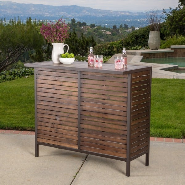 Outdoor Patio Table Sale: Shop Milos Outdoor Acacia Wood Bar Table By Christopher