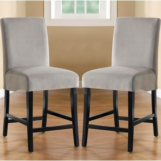 Bass Grey Upholstered Flared Back Counter Height Parson Stools (Set of 2)