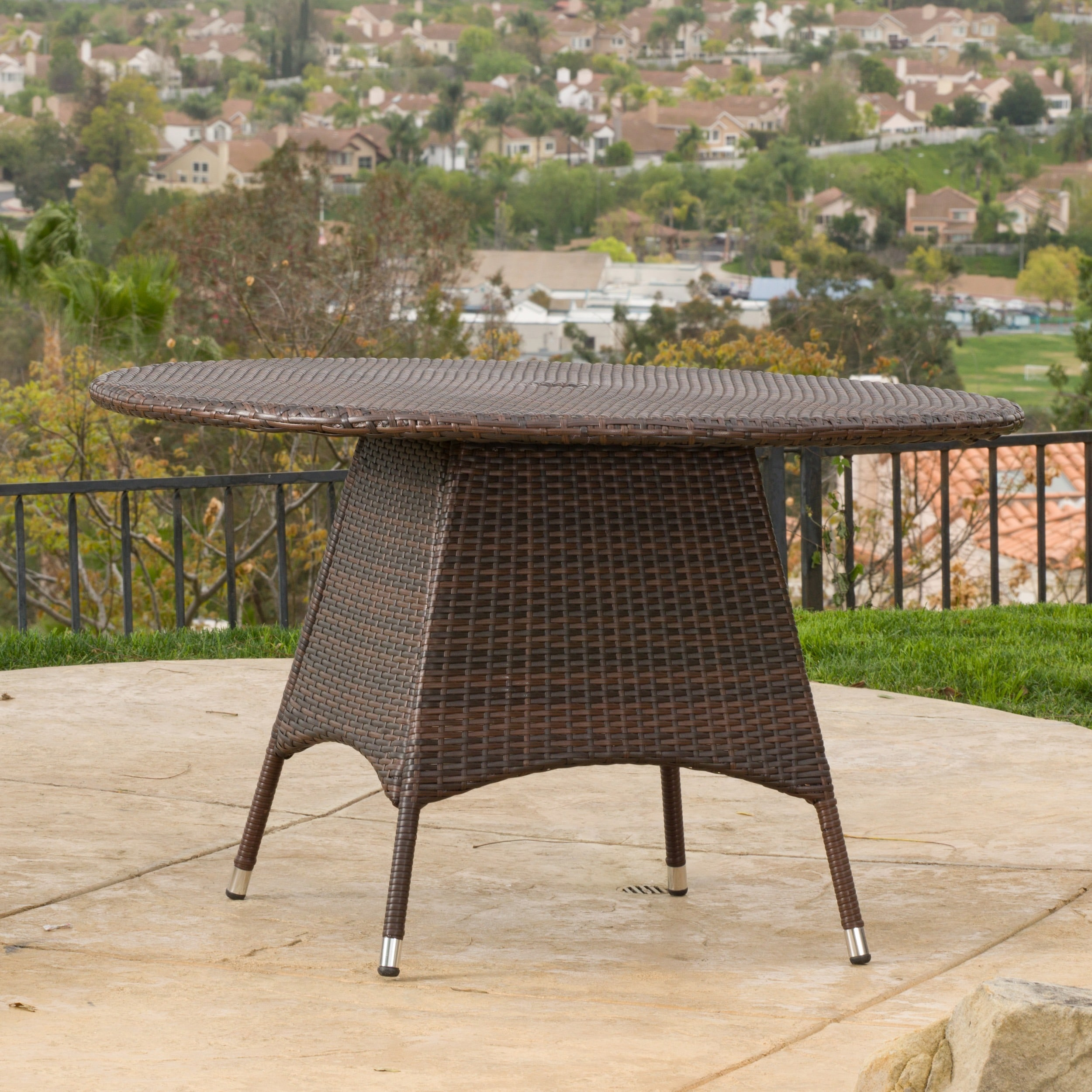 Corsica Outdoor Wicker Round Dining Table Only By Christopher Knight Home