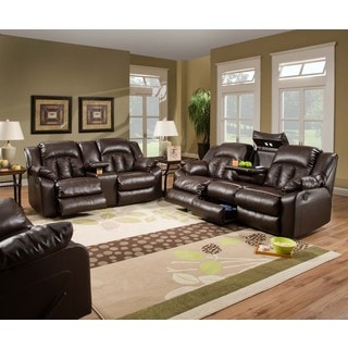 Simmons Upholstery Sebring Bonded Leather Double Motion Loveseat with USB Power Ports