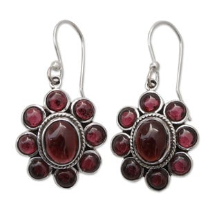 Sterling Silver 'Raspberry Blossom' Garnet Earrings (India)