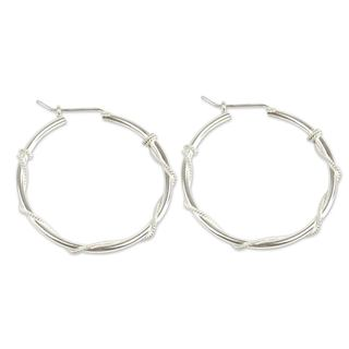 Handcrafted Sterling Silver 'Goddess of Health' Hoop Earrings (Peru)