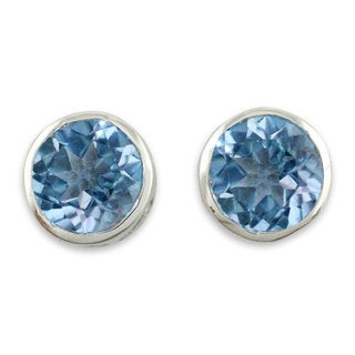 Sterling Silver 'Spark of Life' Blue Topaz Earrings (India)