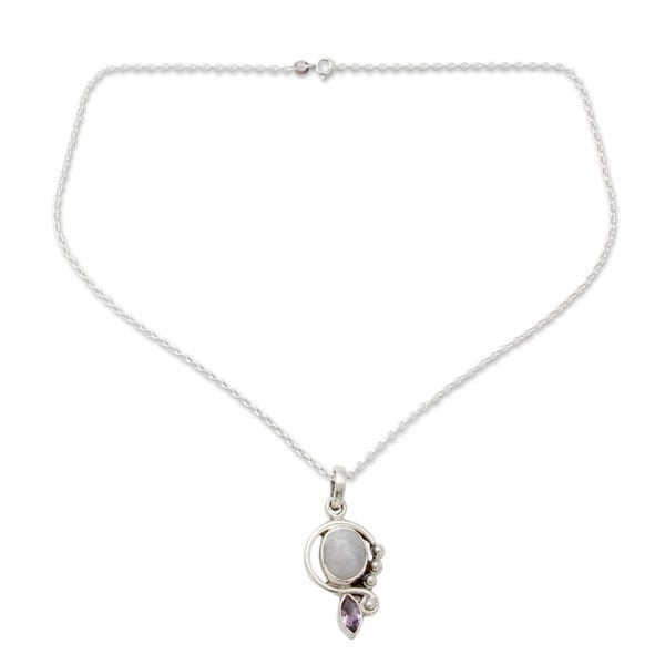 """Handmade Sterling Silver 'Yours Forever' Moonstone Amethyst Necklace (India) - 7'6"""" x 9'6"""""""