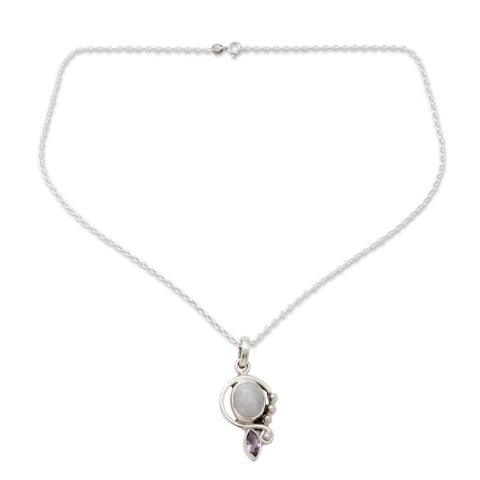 Handmade Sterling Silver 'Yours Forever' Moonstone Amethyst Necklace (India)
