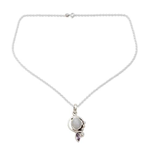 Handmade Sterling Silver Yours Forever Moonstone Amethyst Necklace (India)