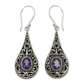Handmade Sterling Silver 'Balinese Dew' Amethyst Earrings (Indonesia)