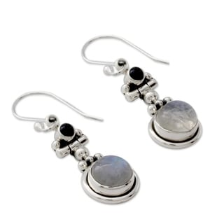 Sterling Silver 'Misty Moon' Moonstone Iolite Earrings (India)
