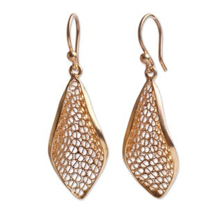 Handmade Gold Overlay 'Emerging' Earrings (Peru)