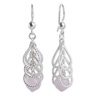 Handcrafted Sterling Silver 'Emerging Pink' Quartz Earrings (Peru)