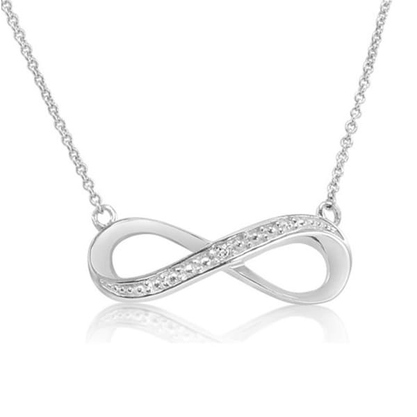 Amanda Rose Collection Diamond Infinity Necklace in Sterling Silver
