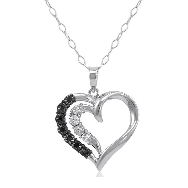 Amanda Rose Collection IGI Certified Black and White Diamond Heart Pendant-Necklace in Sterling Silver