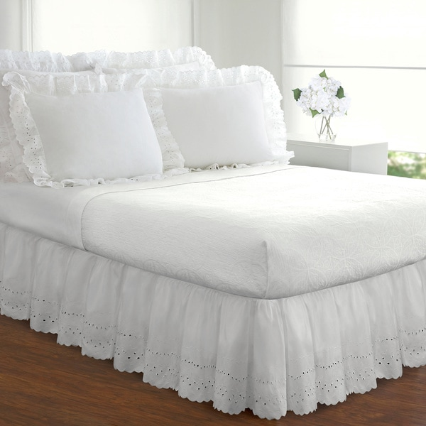 shop ruffled lauren eyelet 18 inch bedskirt full size in white as is item free shipping on. Black Bedroom Furniture Sets. Home Design Ideas