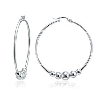 Mondevio 5-Bead Round Hoop Earrings