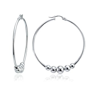 Mondevio High Polished 5 Bead Round Hoop Earring