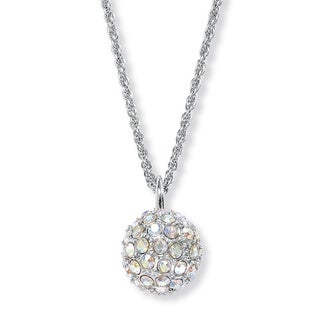 "PalmBeach Aurora Borealis Crystal Silvertone Disco Ball Drop Pendant Necklace 20"" Color Fun"