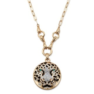"PalmBeach Round White and Green Crystal Leopard Pendant Necklace in Gold Tone 26"" Bold Fashion"