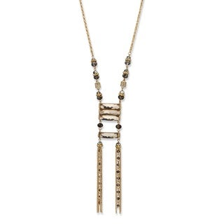 "Grey Oblong and Round Crystal Gold Tone Ladder Necklace 29"" Bold Fashion"