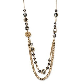 "PalmBeach Gray Bezel-Set Glass, Crystal Accent and Golden Charm Mixed Link Gold Tone Statement Necklace 34"" Bold Fashion"