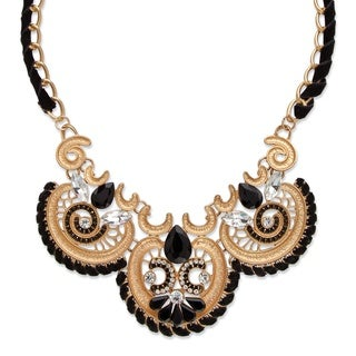 "PalmBeach Black and White Crystal Antiqued Gold Tone Scroll Statement Necklace 18"" - 20.5"" Bold Fashion"