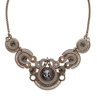 "PalmBeach Round Grey and White Crystal Vintage-Inspired Bib Necklace in Antiqued Brass 17"" Bold Fashion"
