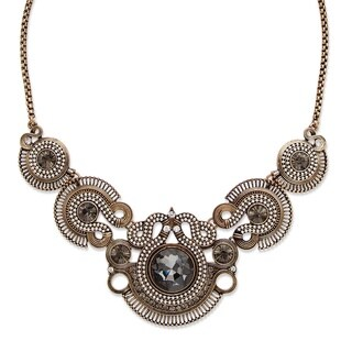 """PalmBeach Round Grey and White Crystal Vintage-Inspired Bib Necklace in Antiqued Brass 17"""" Bold Fashion"""