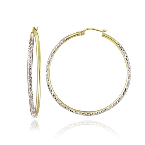 Mondevio Two-Tone 2mm Diamond-Cut Large Round Hoop Earrings, 35mm-50mm