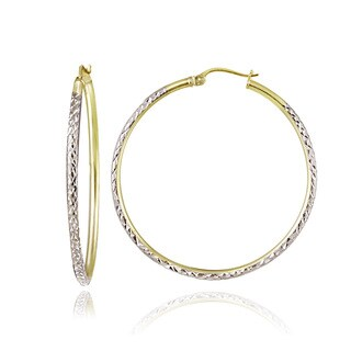 Mondevio Two-Tone 2mm Diamond-Cut Large Round Hoop Earrings, 35mm-50mm