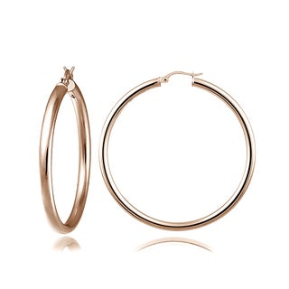Mondevio High Polished 3mm Large Round Hoop Earrings, 40mm-50mm (Option: 18k Rose Gold over Silver 45mm)