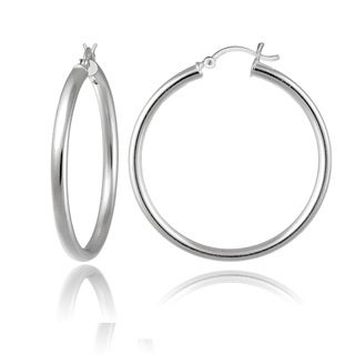Mondevio High Polished 3mm Large Round Hoop Earrings, 40mm-50mm