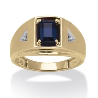 PalmBeach 10k Yellow Gold Men's Emerald-cut Lab Created Sapphire and Diamond Accent Ring