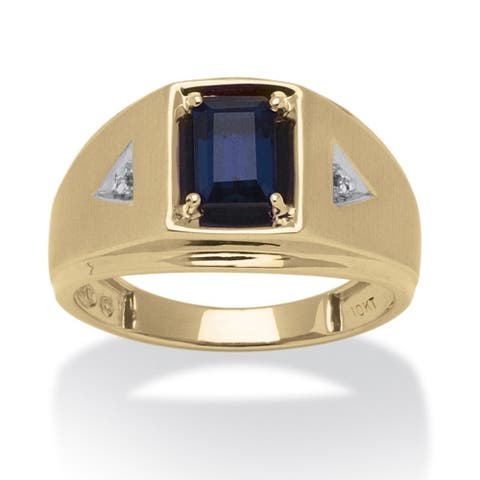 10k Yellow Gold Men's Emerald-cut Lab Created Sapphire and Diamond Accent Ring