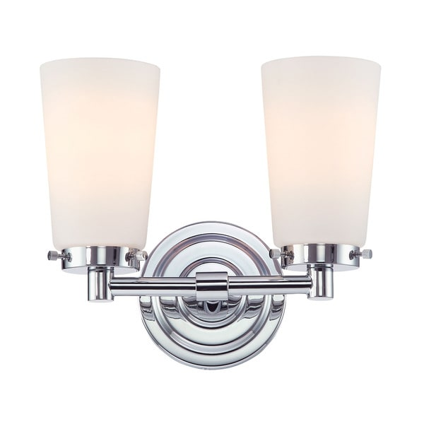 Alico Madison 2 Light Vanity With Chrome And White Opal Gl