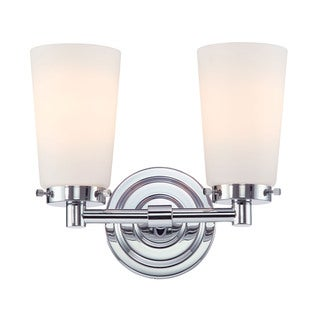 Alico Madison 2-light Vanity with Chrome and White Opal Glass