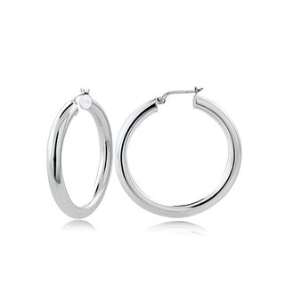 Mondevio High Polished 4mm Round Hoop Earrings, 30mm-50mm