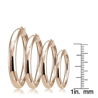 Mondevio High Polished 5mm Round Hoop Earrings, 20mm-40mm
