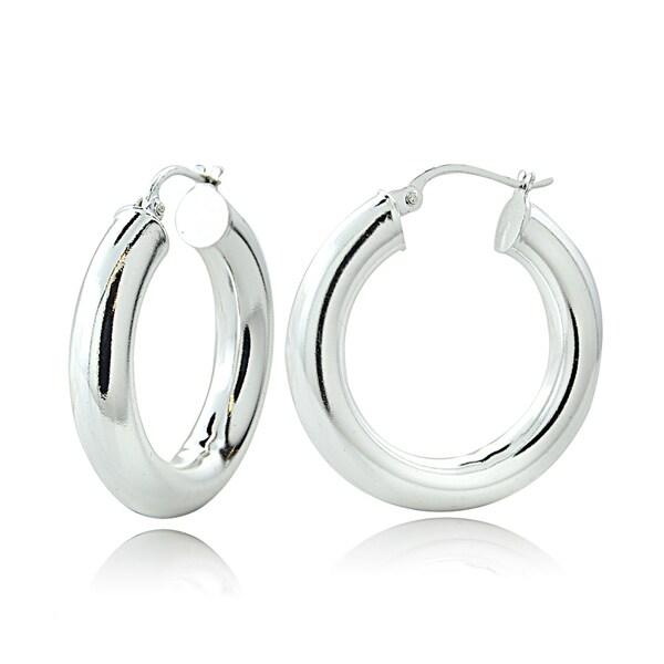 2 5 Mm Earrings: Shop Mondevio High Polished 5mm Round Hoop Earrings, 20mm