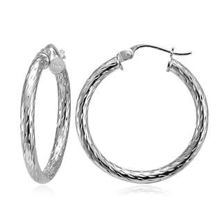 Mondevio 2.5mm Diamond-Cut Round Hoop Earrings 25mm-50mm