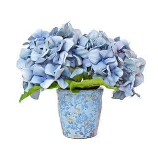"11"" Blue Bouquet of Hydrangeas in Antique Finish Pot"