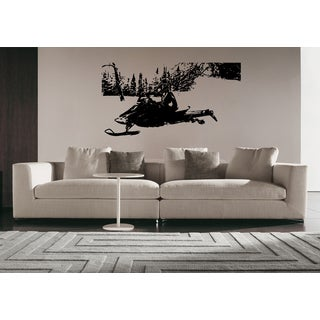 Racing on a snowmobile Wall Art Sticker Decal