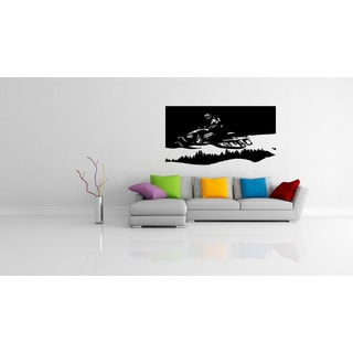 Jumping on a Snowmobile Wall Art Sticker Decal