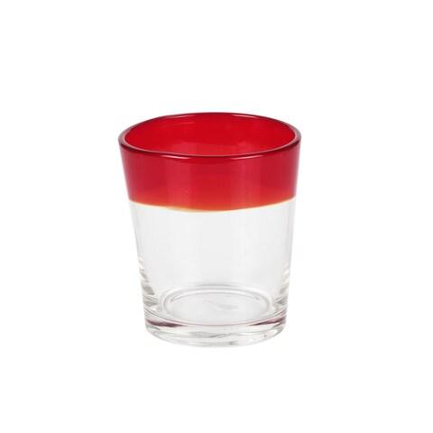 Caribbean Joe 4-piece Old-fashioned Colored Rim Glasses Set