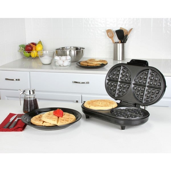 Kalorik Black Stainless Steel Double Belgian Waffle Maker  Free
