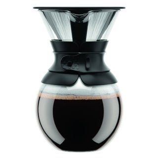 Bodum 11571-01 Pour Over Black 34-ounce Coffee Maker with Permanent Filter