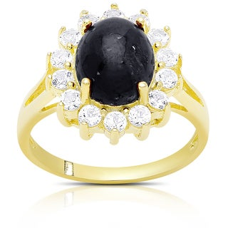 Dolce Giavonna Gold Over Silver Sapphire Cocktail Ring
