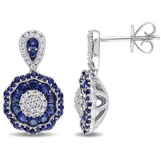 Miadora Signature Collection 14k White Gold Sapphire and 1/4ct TDW Diamond Medallion Earrings|https://ak1.ostkcdn.com/images/products/11416403/P18379818.jpg?_ostk_perf_=percv&impolicy=medium